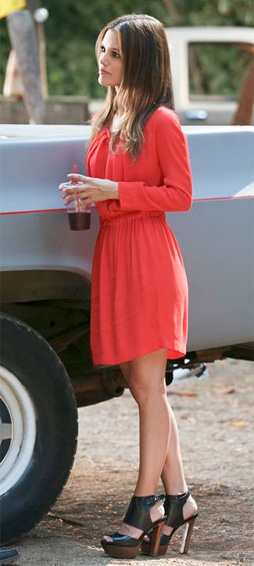 Zoe-Hart-Rachel-Bilson-sandro-Gathered-Waist-Dress